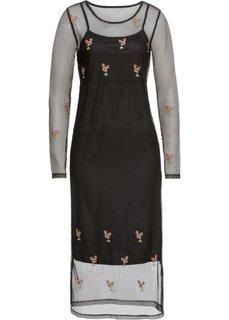 Платье из сеточки с вышивками (черный) Bonprix