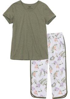 Пижама-капри (оливковый/белый с принтом) Bonprix