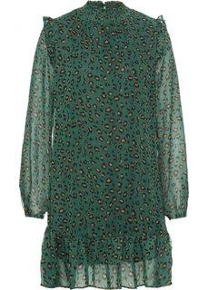 Платье с принтом и воланами (сине-зеленый леопардовый) Bonprix