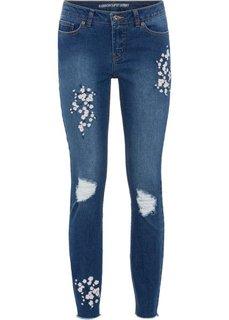 Брюки-дудочки с цветочной вышивкой (синий «потертый») Bonprix