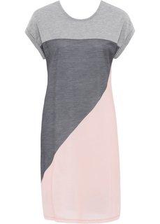 Платье из трикотажа (серый/розовый/темно-серый меланж) Bonprix