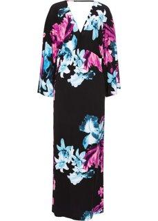 Платье с цветочным принтом (черный/лиловый/синий) Bonprix