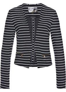 Пиджак из трикотажа (черный/белый в поперечную полоску) Bonprix