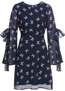 Платье из шифона с бабочками (темно-синий/с рисунком бабочек) Bonprix