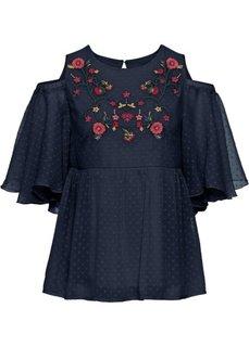 Блузка с прорезями и вышивкой (темно-синий) Bonprix