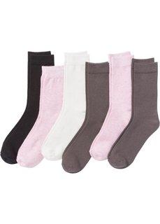 Носки женские (6 пар) (розовый меланж/серый/черный) Bonprix