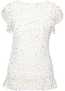 Блузка с рукавами-воланами (кремовый в цветочек) Bonprix