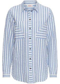 Блузка с длинным рукавом (синий жемчуг/белый) Bonprix