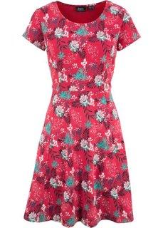 Платье из трикотажа, без рукавов (красный в цветочек) Bonprix