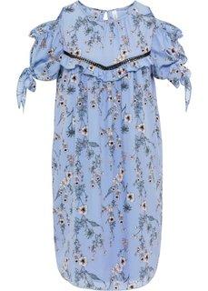 Платье с вязаной кружевной вставкой (голубой с рисунком) Bonprix