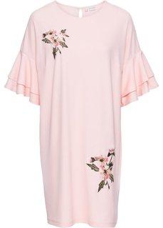 Платье из трикотажного крепа с вышивкой (нежно-розовый) Bonprix