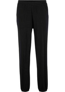 Трикотажные брюки с принтом (черный) Bonprix