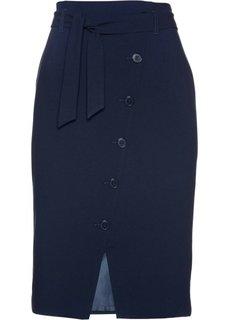 Юбка-карандаш с текстильным поясом (темно-синий) Bonprix