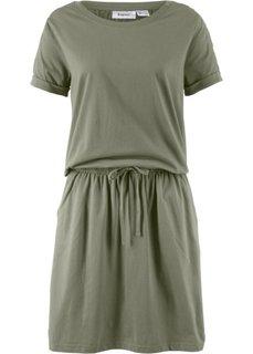 Платье с коротким рукавом и лентой для завязывания в талии (оливковый) Bonprix