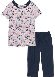 Пижама-капри (темно-синий/светло-серый меланж с рисунком) Bonprix