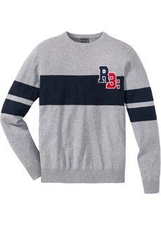 Пуловер Slim Fit из переработанного хлопка (серый меланж) Bonprix