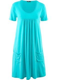 Трикотажное платье-блузон с коротким рукавом (аква) Bonprix