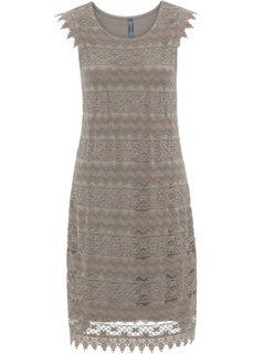 Кружевное платье (серо-коричневый) Bonprix