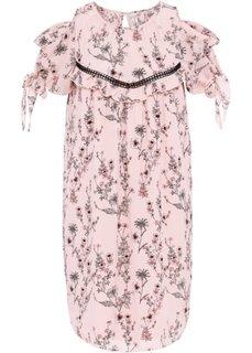Платье с вязаной кружевной вставкой (нежно-розовый/узор в цветочек) Bonprix