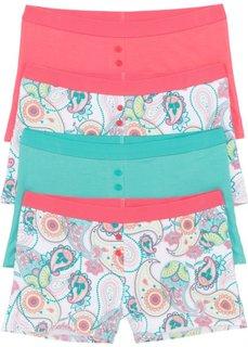 Трусики-боксеры женские (4 шт.) (белый /ярко-розовый/зеленый с рисунком) Bonprix