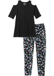 Пижама-капри (черный/розовая пудра с рисунком) Bonprix