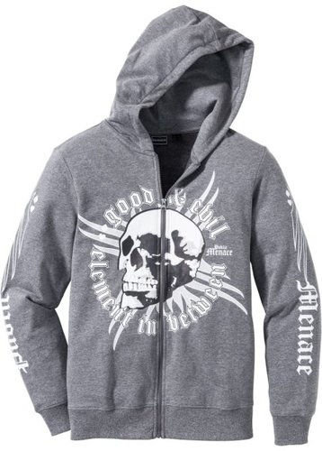 Куртка Slim Fit из трикотажа (серый меланж с рисунком)