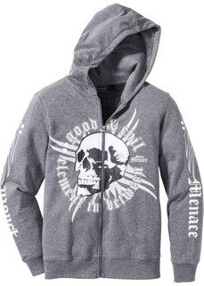 Куртка Slim Fit из трикотажа (серый меланж с рисунком) Bonprix