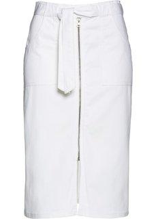 Юбка с текстильным поясом (белый) Bonprix