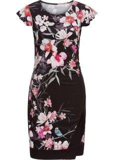 Платье трикотажное, с цветочным принтом (черный с рисунком) Bonprix