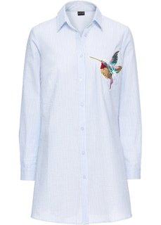 Блузка в полоску с аппликацией колибри (нежно-голубой/белый) Bonprix