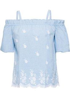 Блузка с вырезом-кармен и вышивкой (нежно-голубой) Bonprix