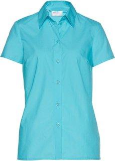 Однотонная блузка с короткими рукавами (аква) Bonprix