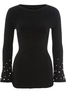 Пуловер с расклешенным рукавом и бусинами (черный) Bonprix