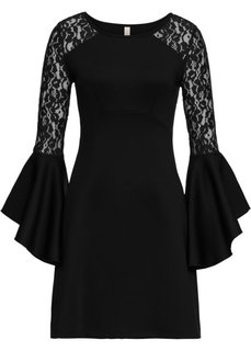 Платье с воланом и кружевом (черный) Bonprix