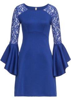 Платье с воланом и кружевом (темно-синий) Bonprix