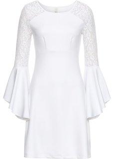 Платье с воланом и кружевом (белый) Bonprix