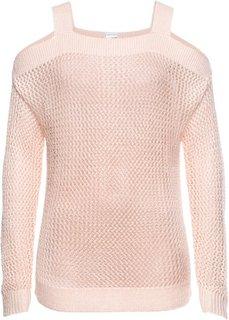 Ажурный пуловер с вырезами (розовый) Bonprix