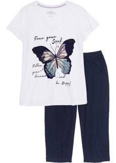 Пижама-капри (белый/темно-синий с рисунком) Bonprix
