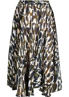 Шифоновая юбка с принтом (зеленый хаки с рисунком) Bonprix