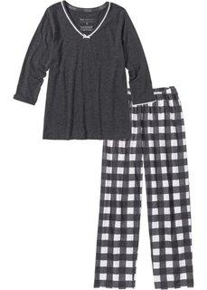 Пижама (антрацитовый меланж/кремовый) Bonprix