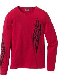 Облегающая футболка с длинным рукавом (темно-красный) Bonprix
