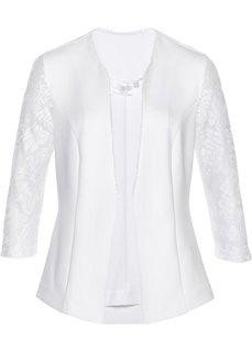 Пиджак из трикотажа с кружевом (кремовый) Bonprix
