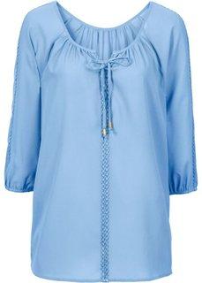 Блузка с кружевной отделкой (нежно-голубой) Bonprix