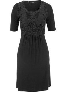 Платье с кружевной вставкой и коротким рукавом (черный) Bonprix