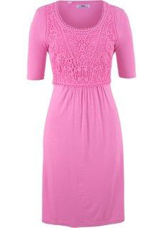 Платье с кружевной вставкой и коротким рукавом (яркий розово-лиловый) Bonprix