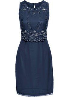 Платье с вышивкой (темно-синий) Bonprix