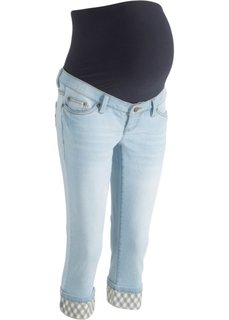 Джинсы-капри для беременных, с клетчатыми отворотами (нежно-голубой) Bonprix