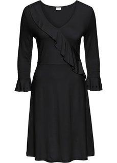 Платье с воланом (черный) Bonprix