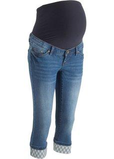 Джинсы-капри для беременных, с клетчатыми отворотами (синий) Bonprix