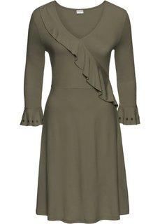 Платье с воланом (оливковый) Bonprix